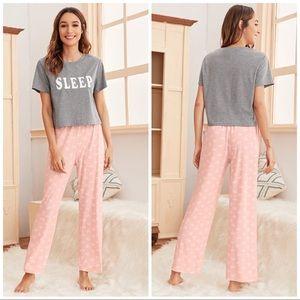 New Tee & Pants Pajama Set Comfy Sleepwear